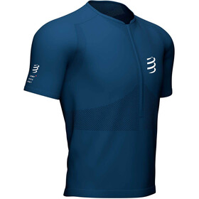Compressport Trail Fitted T-shirt met Halve Rits Heren, blue